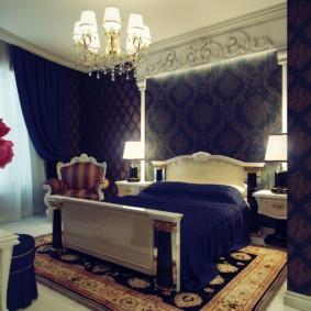 синяя спальня оформление фото