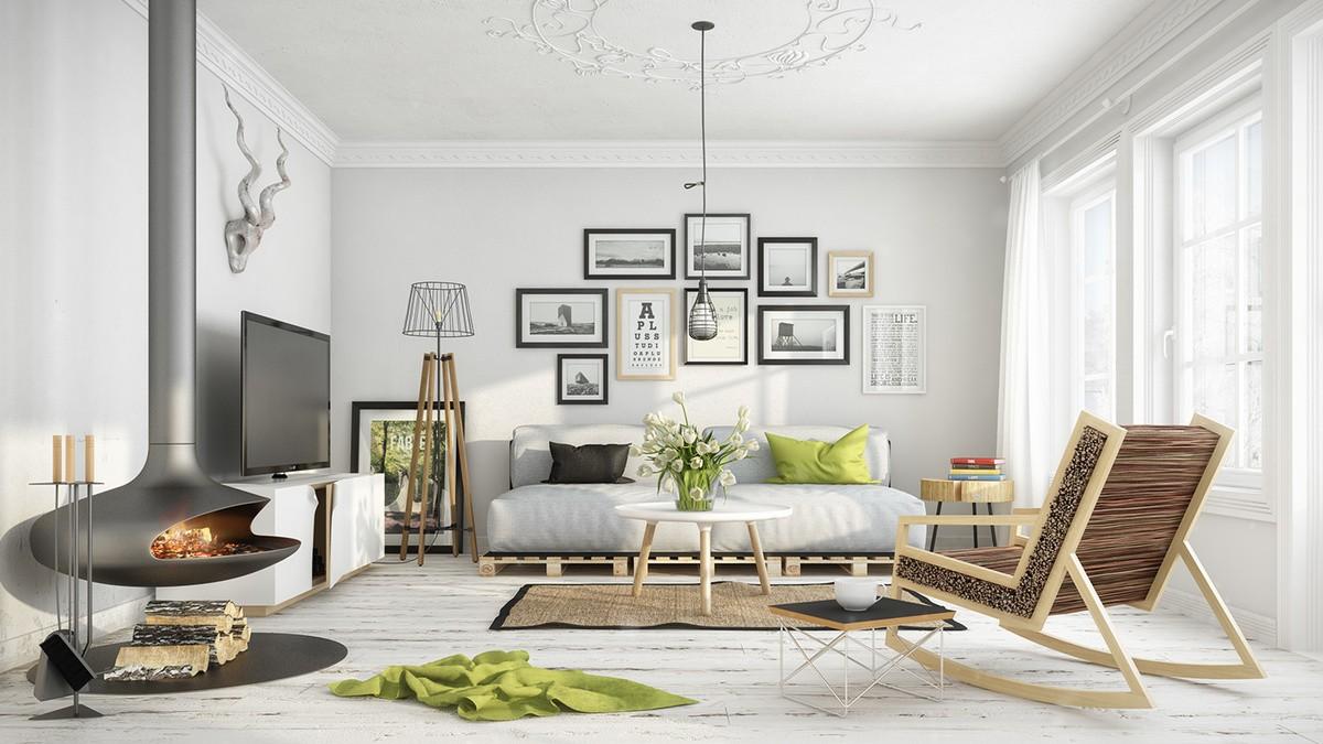 гостиная в скандинавском стиле декор