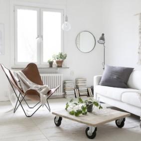скандинавский стиль в гостиной дизайн