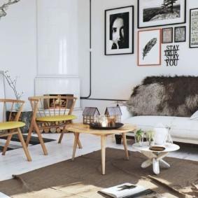 скандинавский стиль в гостиной фото интерьер
