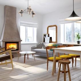 скандинавский стиль в гостиной фото интерьера