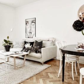 скандинавский стиль в гостиной идеи декор