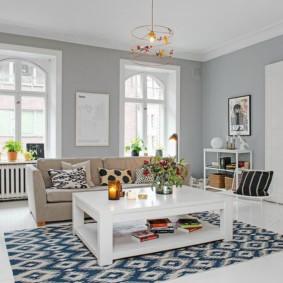 скандинавский стиль в гостиной идеи интерьера