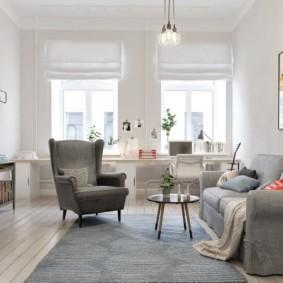 скандинавский стиль в гостиной интерьер