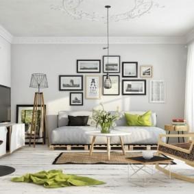 скандинавский стиль в гостиной интерьер фото