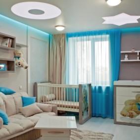 совмещение гостиной и детской дизайн