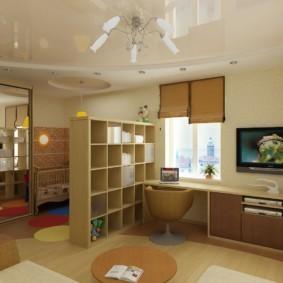 совмещение гостиной и детской дизайн идеи