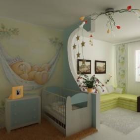 совмещение гостиной и детской фото интерьер