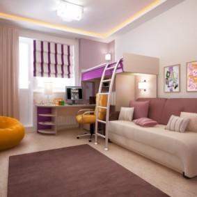 совмещение гостиной и детской фото варианты
