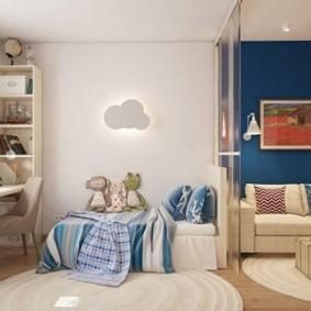 совмещение гостиной и детской идеи декора