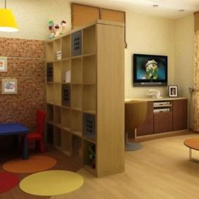 совмещение гостиной и детской идеи интерьера