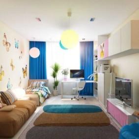 совмещение гостиной и детской интерьер