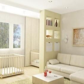 совмещение гостиной и детской оформление идеи