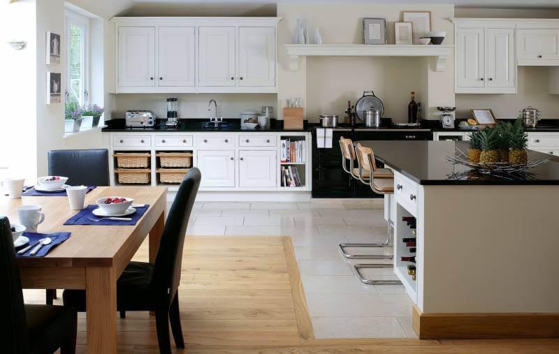 совмещение плитки и ламината на кухне декор фото