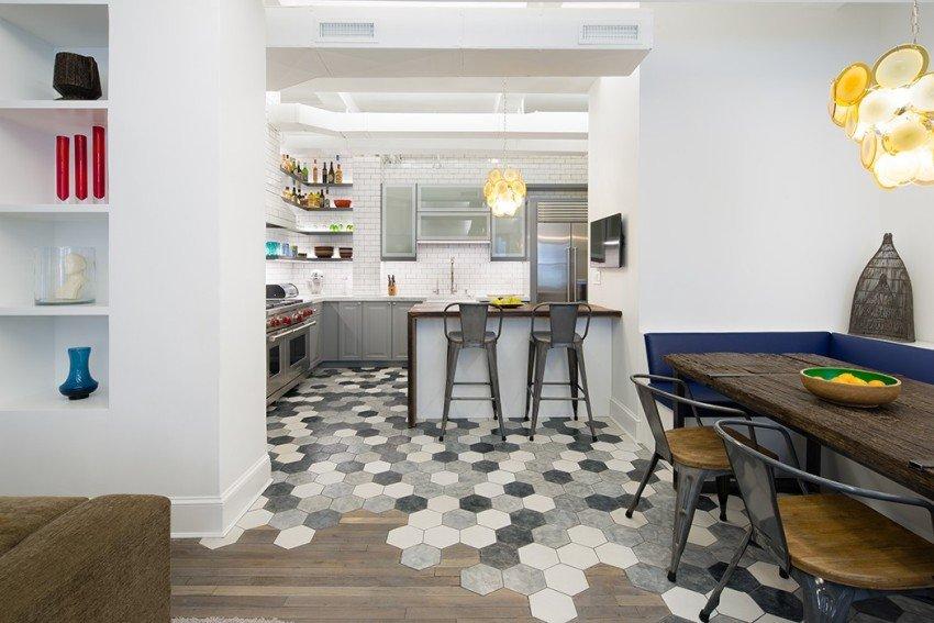 совмещение плитки и ламината на кухне дизайн фото