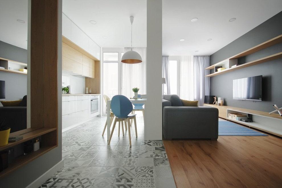 совмещение плитки и ламината на кухне дизайн