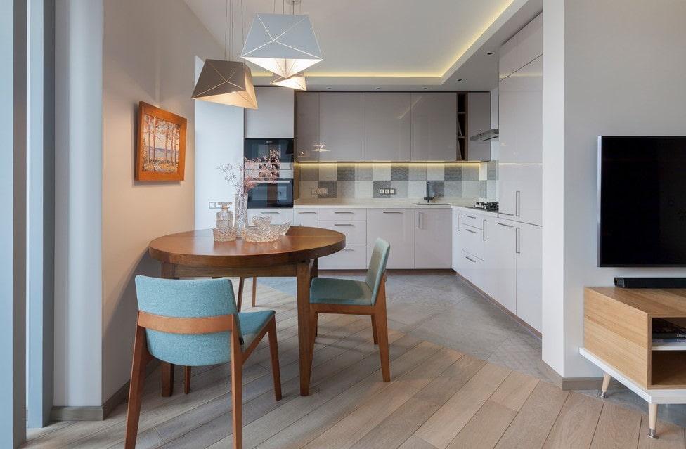 совмещение плитки и ламината на кухне фото