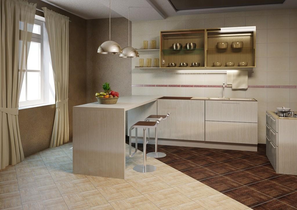 совмещение плитки и ламината на кухне идеи декора