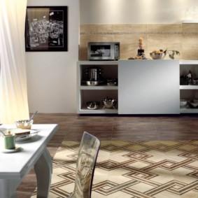 совмещение плитки и ламината на кухне виды