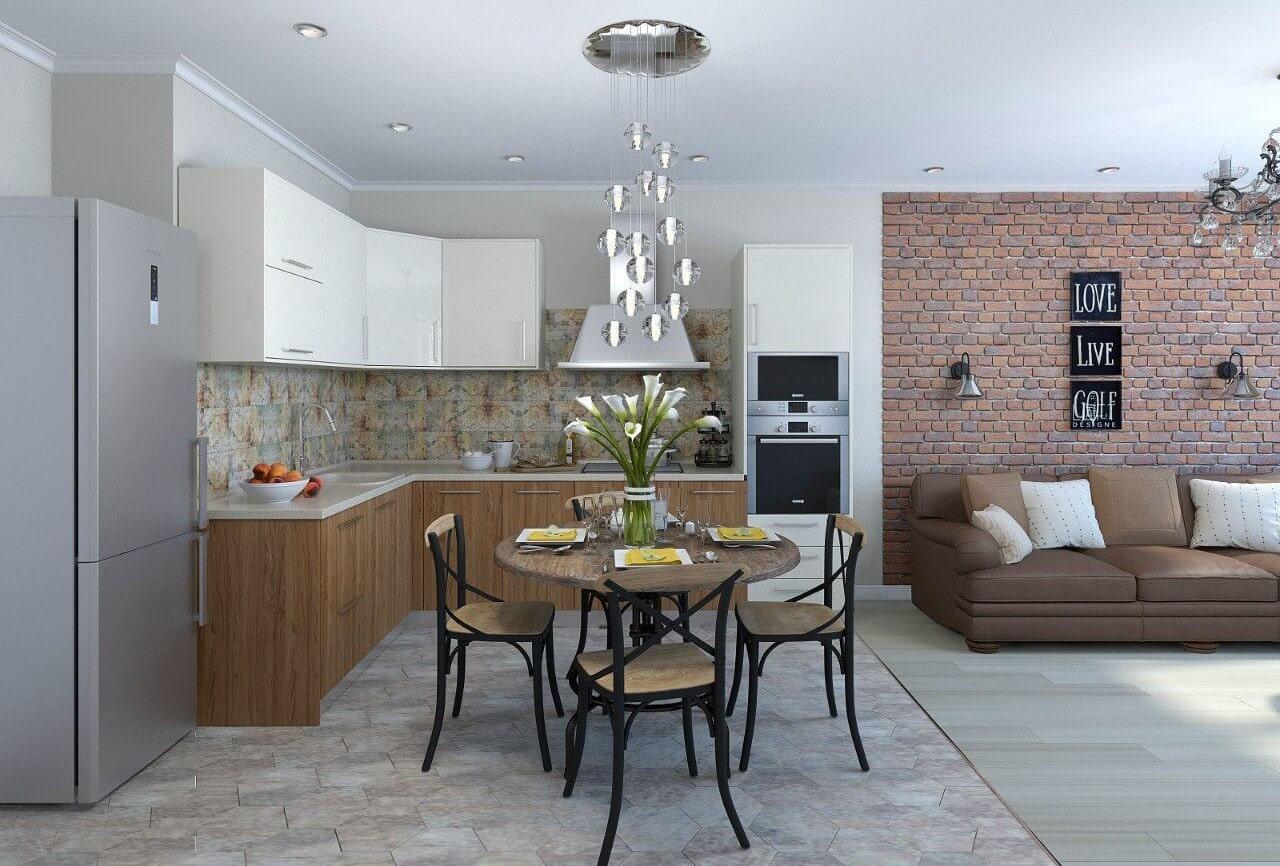 совмещение плитки и ламината на кухне фото дизайн