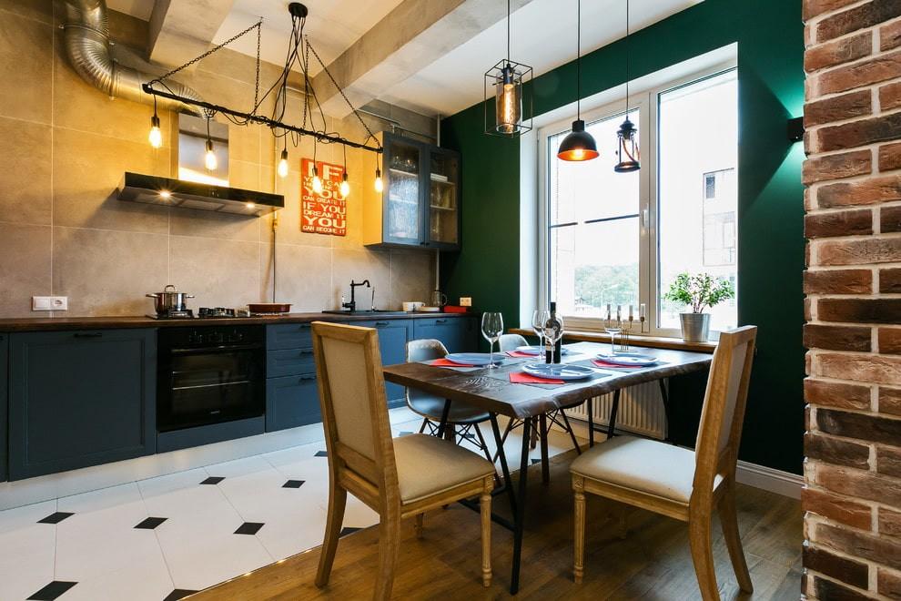 совмещение плитки и ламината на кухне фото интерьера