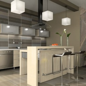 совмещение плитки и ламината на кухне идеи дизайна