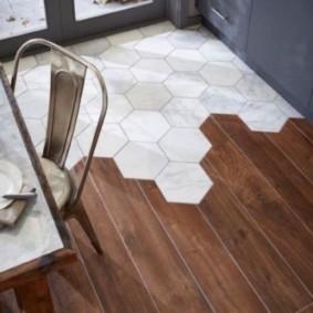 совмещение плитки и ламината на кухне идеи виды