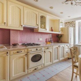 совмещение плитки и ламината на кухне интерьер фото
