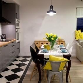 совмещение плитки и ламината на кухне виды идеи