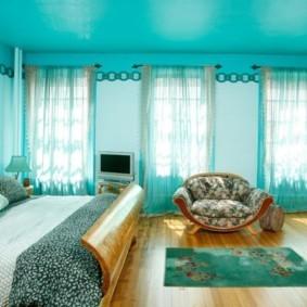 спальня в бирюзовых тонах фото идеи