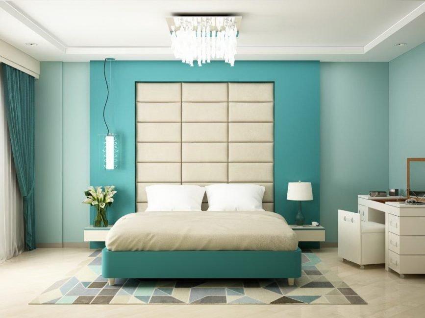 спальня в бирюзовых тонах виды дизайна