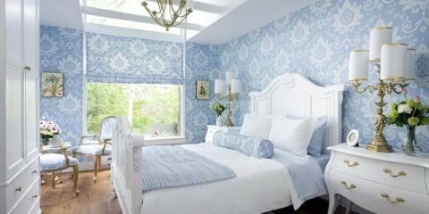 спальня в голубом цвете декор идеи