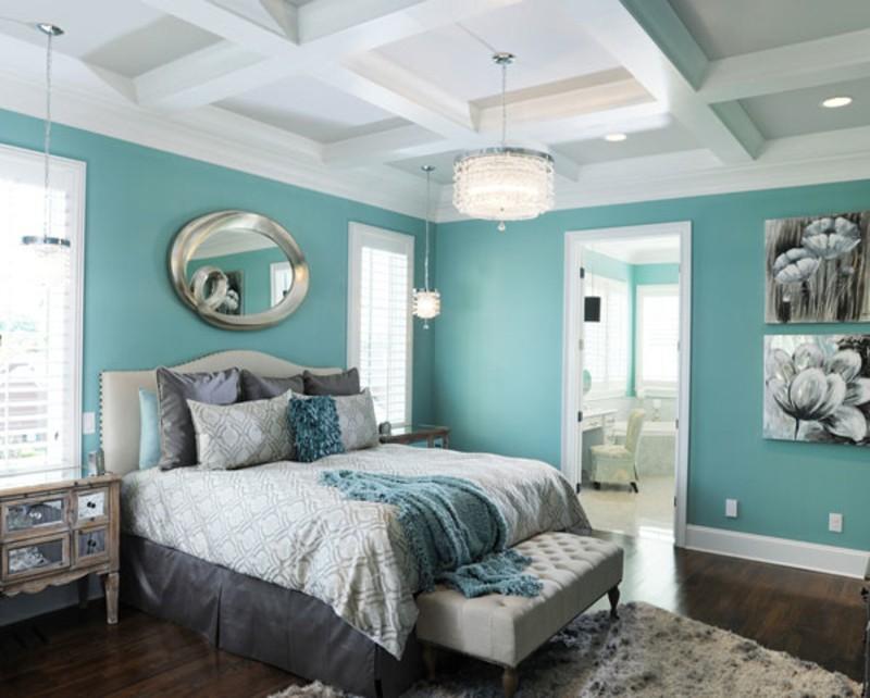 спальня в голубом цвете дизайн