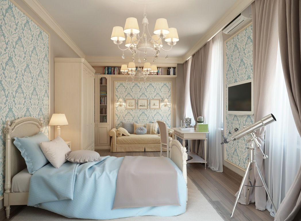 спальня в голубом цвете фото декор