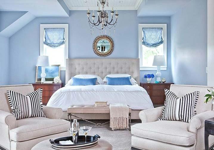 спальня в голубом цвете фото интерьера