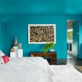 спальня в голубом цвете фото оформление