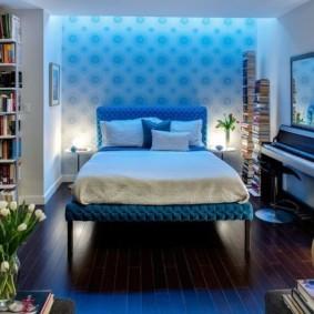 спальня в голубом цвете фото оформления