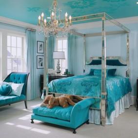 спальня в голубом цвете фото вариантов