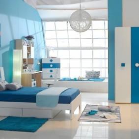 спальня в голубом цвете фото варианты