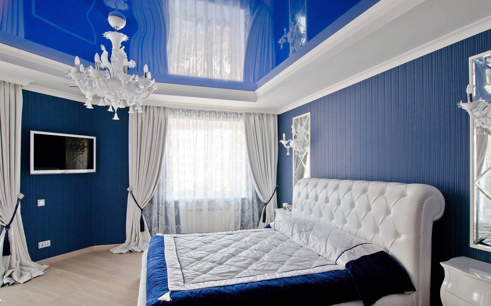 спальня в голубом цвете идеи фото