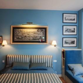 спальня в голубом цвете идеи интерьер