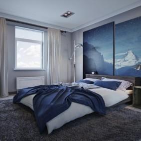 спальня в голубом цвете интерьер