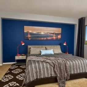 спальня в голубом цвете оформление фото