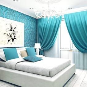 спальня в голубом цвете оформление идеи