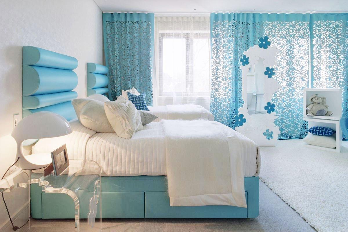 спальня в голубом цвете оформление