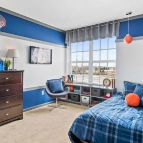 спальня в голубом цвете виды
