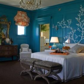 спальня в голубом цвете виды идеи