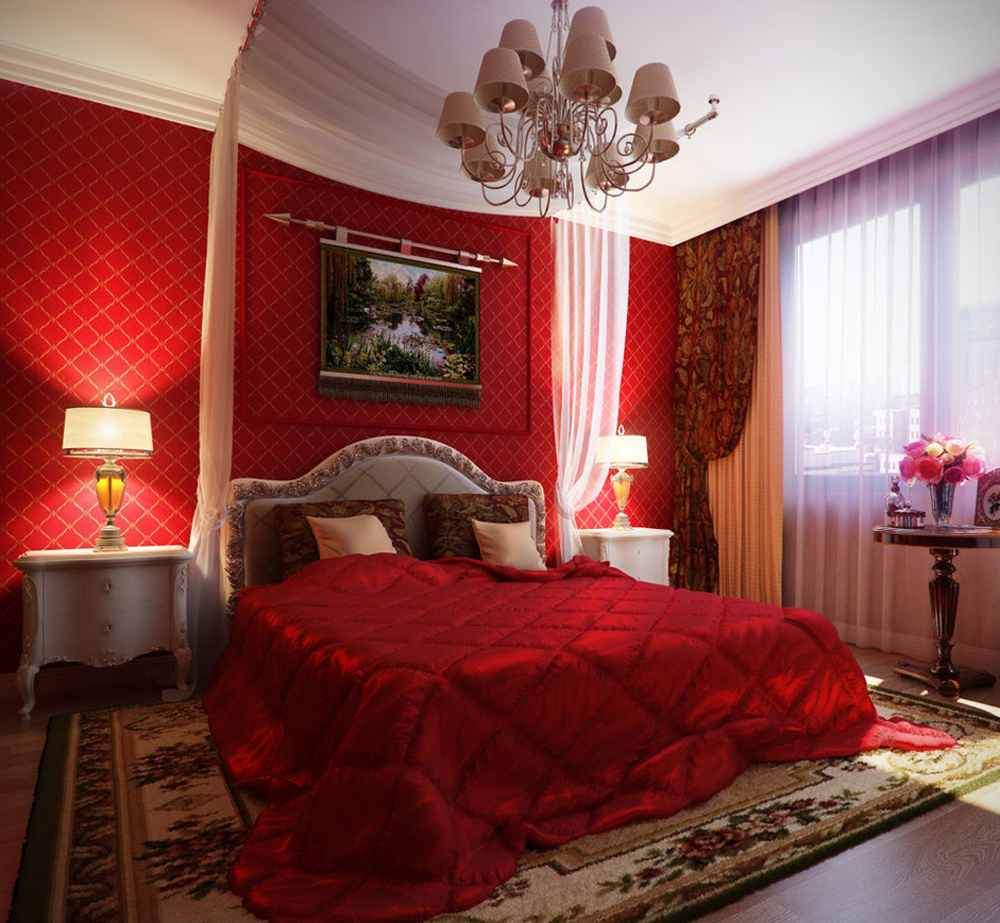 спальня в красных тонах декор