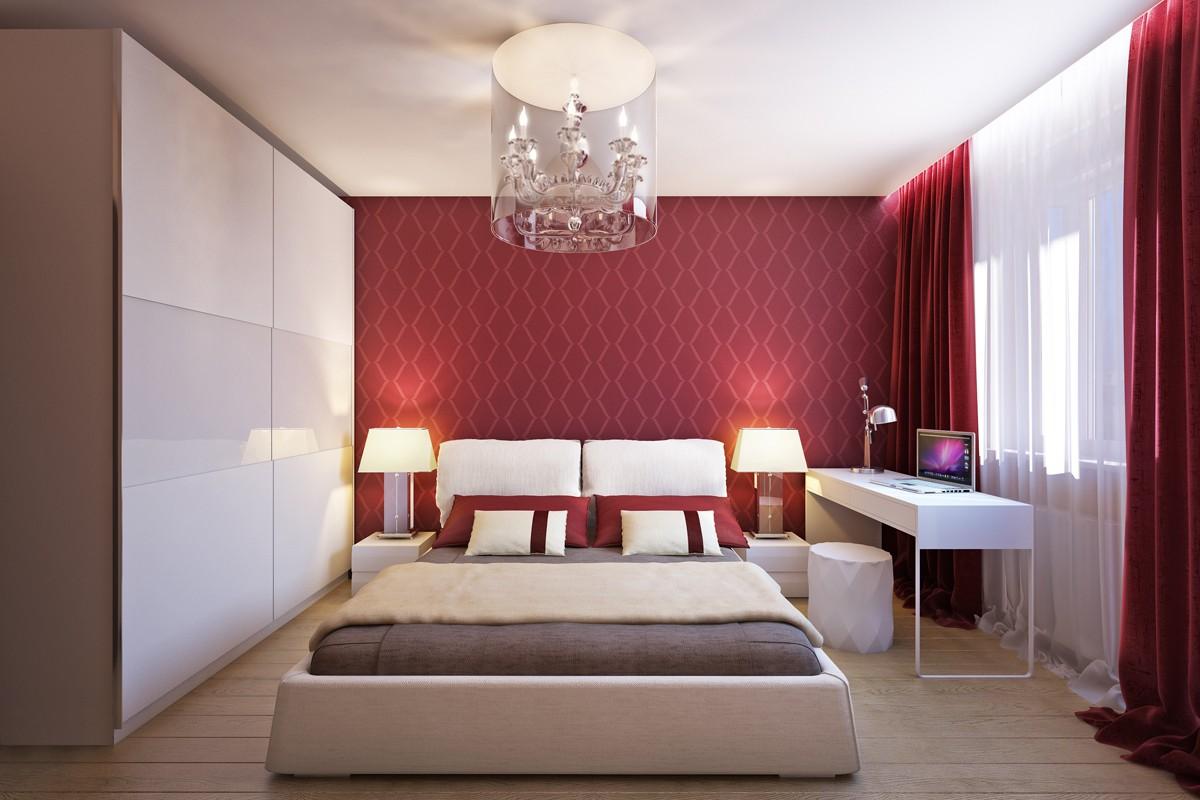 спальня в красных тонах дизайн идеи