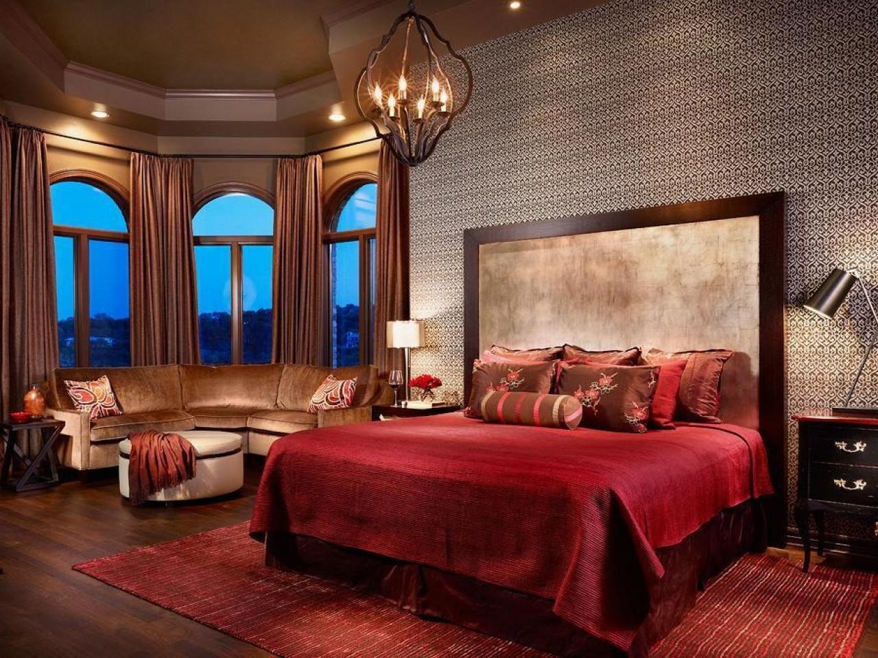 спальня в красных тонах дизайн